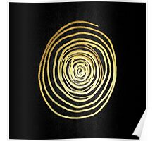 Painted Spiral Swirl in Faux Sparkly Gold on Black Poster