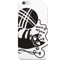 Black white knitting is cool funny derpy cat says so iPhone Case/Skin