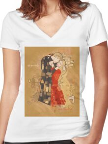 The Invention of the Kiss Women's Fitted V-Neck T-Shirt
