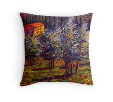 Tuscany Poppies in the Olive Grove Throw Pillow