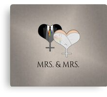 Mrs. Dress and Tux Hearts Tie Canvas Print