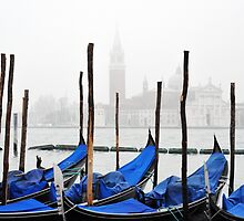 Venice gondolas in the fog by Jaime Pharr