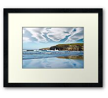 reflection of cliffs and clouds Framed Print