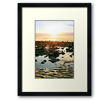 serene reflections at rocky beal beach Framed Print