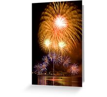 Sunflower Burst - Sydney Harbour - New Years Eve - Midnight Fireworks Greeting Card