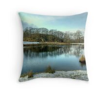 River Brathay In Winter Throw Pillow
