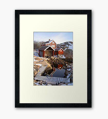 House, boatshed and harbour Framed Print