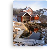 House, boatshed and harbour Canvas Print