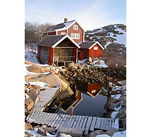 House, boatshed and harbour Photographic Print