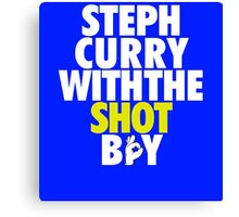 Steph Curry With The Shot Boy [With 3 Sign] White/Gold Canvas Print
