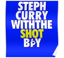 Steph Curry With The Shot Boy [With 3 Sign] White/Gold Poster