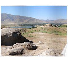 a historic Uzbekistan landscape Poster