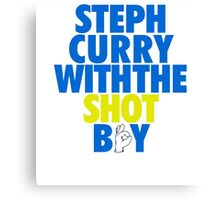Steph Curry With The Shot Boy [With 3 Sign] Blue/Gold Canvas Print