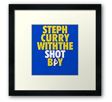 Steph Curry With The Shot Boy [With 3 Sign] Gold/White Framed Print