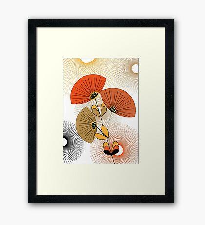Stylish Retro Floral Print Framed Print