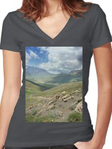 a large Uzbekistan landscape Women's Fitted V-Neck T-Shirt