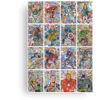 Vintage Comic Superheroes Galore (white borders) Canvas Print