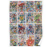 Vintage Comic Superheroes Galore (white borders) Poster