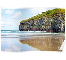 single kayaker near the cliffs of ballybunion Poster