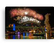 Sydney New Years Eve Fireworks 2009 - 2010 Sydney Harbour Bridge Canvas Print