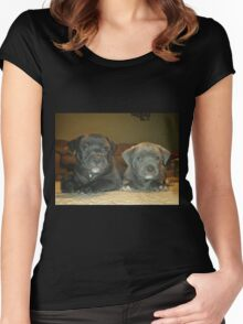pit bull babies Women's Fitted Scoop T-Shirt