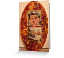 Self Portrait In Bondo Resin with Garbage and Christmas Lights Greeting Card