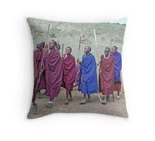 Maasai Men's Greeting, Northern Tanzania Throw Pillow