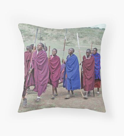 Maasai Men's Greeting, Northern Tanzania Throw Pillow