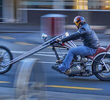 Triumph Chopper in motion by Tony Burton