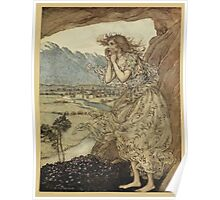 Comus Illustrated by Arthur Rackham 1921 0081 Maiden Calling Poster
