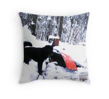 Odie In The Snow Throw Pillow