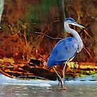 Heron on Ice Texture Painting by angelcher