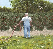Old Man in Garden by paintme
