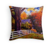Fence in New England Throw Pillow
