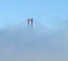 A little bit poking through the fog- Golden Gate Bridge San Francisco by meredith175