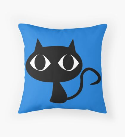Black Cat Big Eyes Throw Pillow