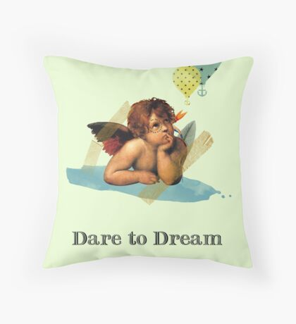 Dare to Dream Post Card Throw Pillow