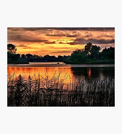 Sunset On Horseshoe Pond - Erie, PA Photographic Print
