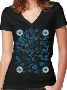 flower garden T-shirt Women's Fitted V-Neck T-Shirt