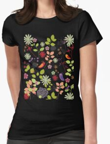 birds in flower garden t-shirt Womens Fitted T-Shirt
