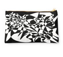 white and black abstract Studio Pouch