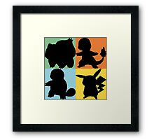 Pokemon - Kanto Starter Design Framed Print