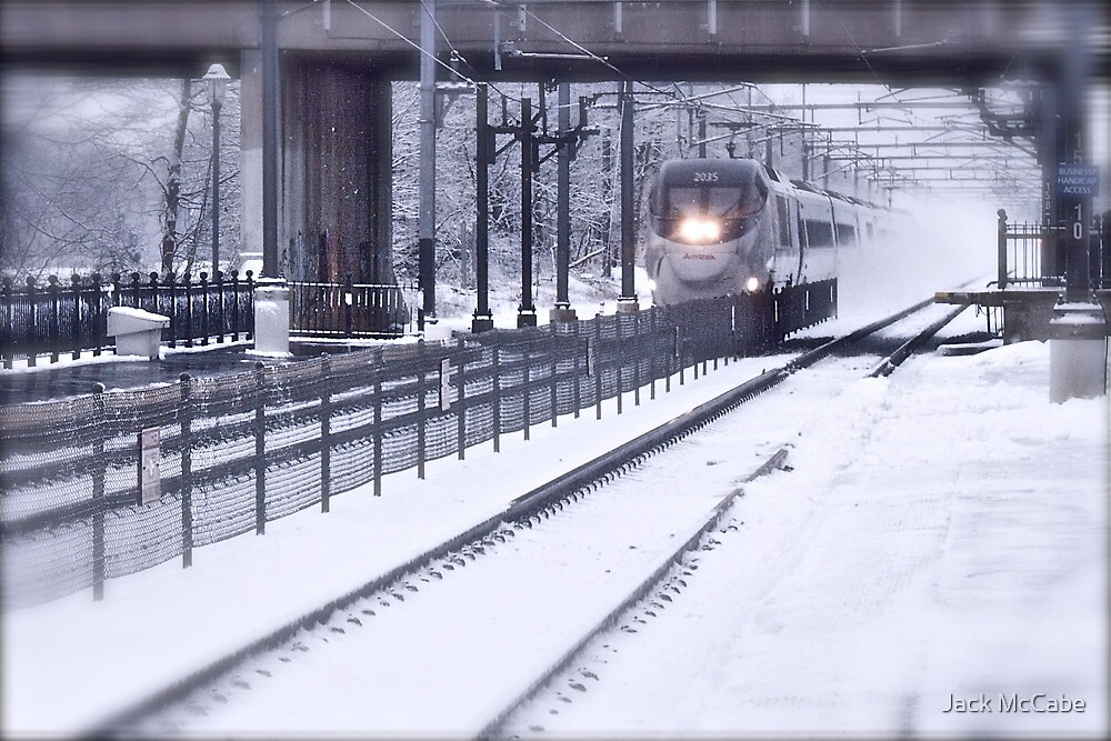 Acela Express Blowing Snow - Last Day of 2009 © featured by Jack McCabe
