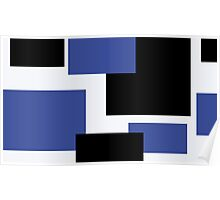 black and blue and white abstract Poster