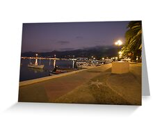 The quay in the evening in Sitia, Crete, Greece Greeting Card