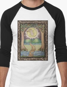 The Moon Tarot Fantasy Card Men's Baseball ¾ T-Shirt