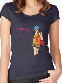 Fashion Girl T-Shirt Women's Fitted Scoop T-Shirt