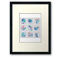 Pastel Pixel Grid swirls Framed Print