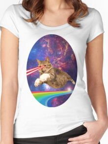 Laser cat in space  Women's Fitted Scoop T-Shirt