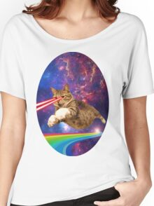 Laser cat in space  Women's Relaxed Fit T-Shirt